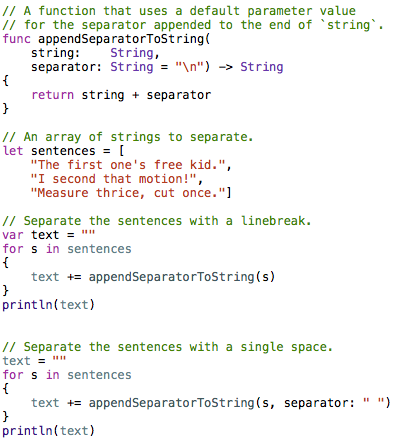 Using a default parameter value
